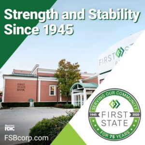 "75th Anniversary Image with text stating ""Strength and Stability Since 1945 and the FSB logo"